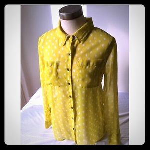 Miss Yellow long sleeve collared blouse